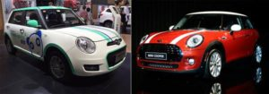 A Lifan Panda and a Mini Cooper. The electric Lifan Panda (also called the 330 EV) starts at $15,400 but the original Mini impersonator, the gas-powered Lifan 320, is priced at $7,150. The Mini Cooper starts at $20,700 in China. Credit: Janis Mackey Frayer | Jae C. Hong / AP