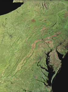 The Chesapeake Bay (bottom right) absorbs pollution from 64,000 square miles of the American northeast, a watershed stretching from New York to Virginia with 18 million people. Credit: USGS