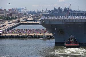 Nuclear carrier USS Harry Truman mooring in Hampton Roads. Credit: Randall Greenwell/Virginian-Pilot