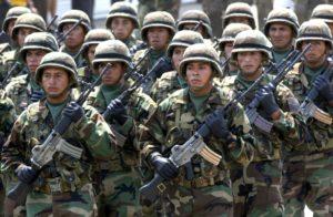 Peruvian troops Credit: AP Photo/Karel Navarro